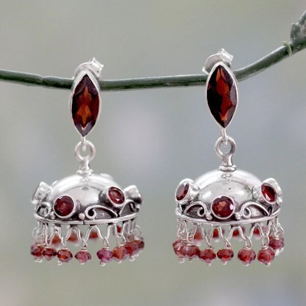Hand-crafted Sterling Silver 'Scarlet Jhumki' Garnet Earrings (India)