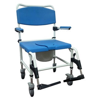 Bariatric Aluminum Rehab Shower Commode Chair with Two Rear-Locking Casters