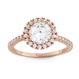 Gioelli Rose Gold Overlay 8 mm Cubic Zirconia Halo Ring