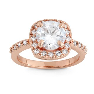 Gioelli Rose Gold Overlay 8 mm Cubic Zirconia Halo Designer Ring