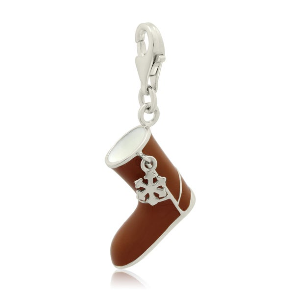 Gioelli Sterling Silver Enameled Brown Winter Boot Charm
