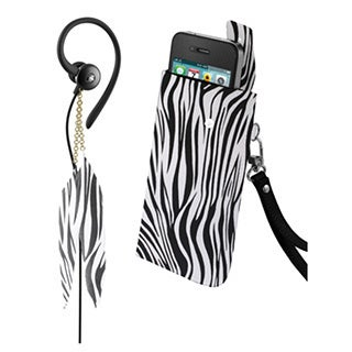 iHip Snooki Couture Black/ White Zebra Fashion Combo Pack (Feather Earphones and Universal Phone Case)