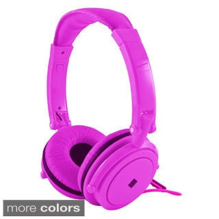 Polaroid Neon Powerful Bass Noise Isolating Padded Headphones with Built-in Mic