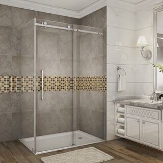 Aston Moselle 48-in x 35-in x 75-in Completely Frameless Sliding Shower Enclosure in Chrome