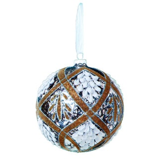 Sage & Co 5-inch Vintage Patterned Beaded Glass Ball Christmas Ornament (Pack of 6)
