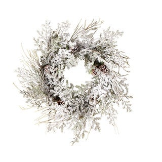 Sage & Co 24-inch Snowy Short Needle Pine Christmas Wreath (Packed 2 Each)