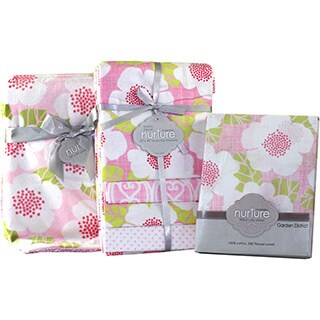 Nurture Imagination Garden District Pink Floral Baby Crib Bedding Bundle