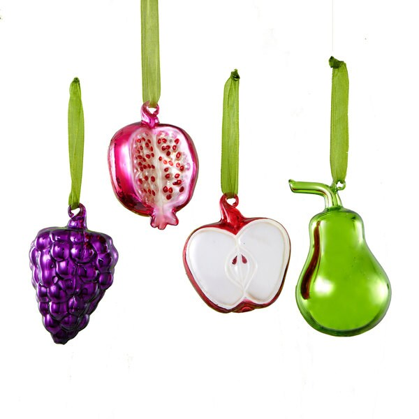 Sage & Co 3-inch Apple, Grape, Pomegranate, Pear Glass Fruit Ornaments (Set of 8)