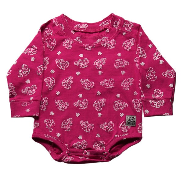 Case IH Girls' Allover Print Long-sleeve Bodysuit