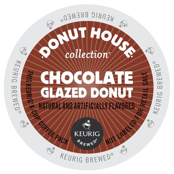 Donut House Collection Chocolate Glazed Donut Coffee, K-Cup Portion Pack for Keurig Brewers