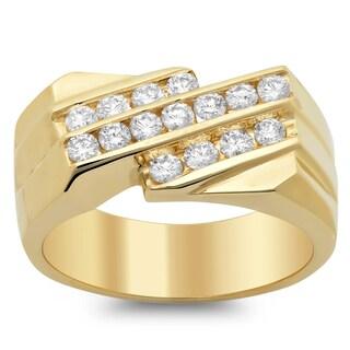 14k Yellow Gold Men's Diamond Ring 1ct TDW (F-G, SI1-SI2)