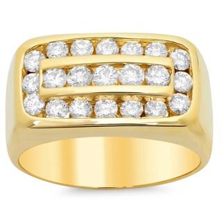 14k Yellow Gold Men's Diamond Ring 2 1/4ct TDW (F-G, SI1-SI2)