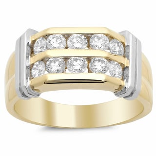 14k Two-tone Gold Men's Diamond Ring 1 1/2ct TDW (F-G, SI1-SI2)