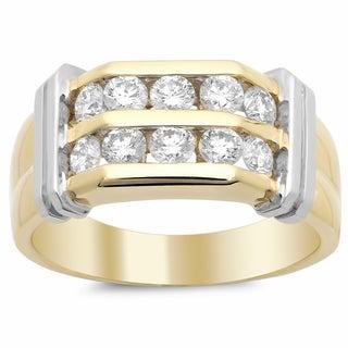 14k Two-tone Gold Men's Diamond Ring 1 1/2ct TDW (F-G, SI1-SI2)