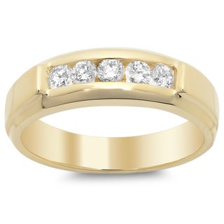 14k Yellow Gold Men's Diamond Ring 1/2ct TDW (F-G, SI1-SI2)
