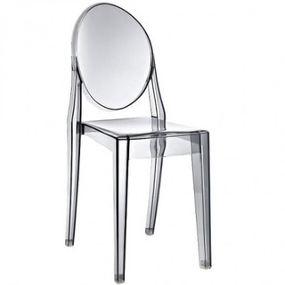 Contemporary Victoria Style Smoke Color Plastic Ghost Dining Designer Chair (Set of 1)