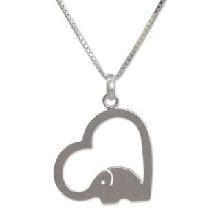 Sterling Silver 'Heartfelt Elephant' Necklace (Thailand)