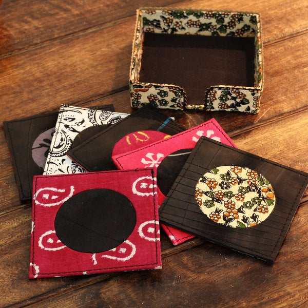 Set of 6 Handcrafted Cotton 'Floral Renovation' Coasters (India)