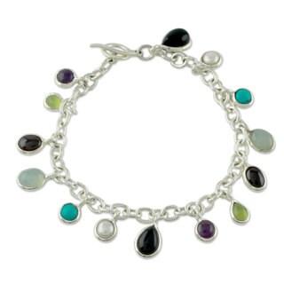 Silver 'Jaipur Enchantment' Pearl Gemstones Bracelet (6mm) (India)