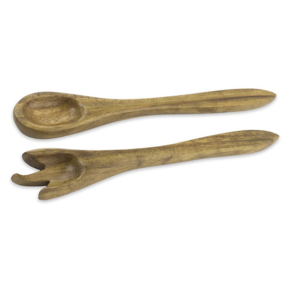 Set of 2 Parota Wood 'Forest Chic' Salad Serving Pieces (Guatemala)