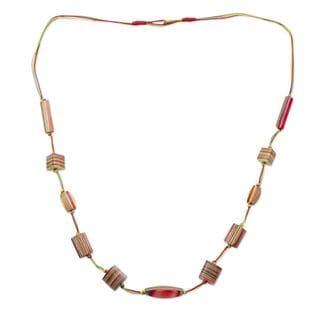 Indian Elm Wood 'Celebrate Life' Long Beaded Necklace (India)