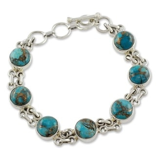 Handmade Sterling Silver Sky Paths Turquoise Link Bracelet (7.25 IN)(India)