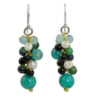 Sterling Silver 'Verdant Vineyard' Multi-gemstone Earrings (Thailand)