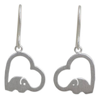 Handcrafted Sterling Silver 'Heartfelt Elephants' Earrings (Thailand)
