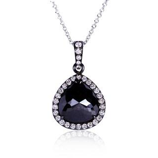 Annello 14k Gold 4ct TDW Pear Shape Black Diamond Necklace with Black Rhodium Coating (G-H, I1-I2)