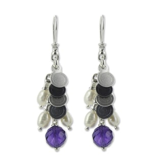 'Rainfall' Cultured Pearl and Amethyst Cluster Earrings (3-3.5 mm) (Mexico)
