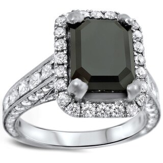 18k White Gold 4 7/8ct UGL-certified Emerald-cut Black Diamond Engagement Ring