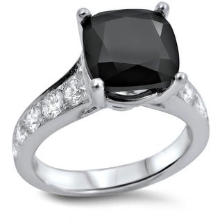 Noori 18k White Gold 4ct Black Cushion-cut Diamond Engagement Ring (VVS1/VVS2)