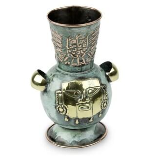 Handcrafted Copper Bronze 'Proud Warrior' Vase (Peru)