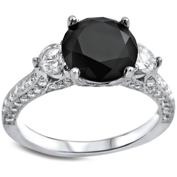Noori 18k White Gold 2 3/4ct Black Round Diamond Three-stone Engagement Ring