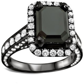 18k Black Gold 4 7/8ct UGL-certified Emerald-cut Black Diamond Engagement Ring