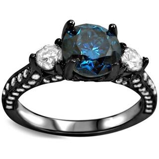 Noori 18k Black Gold 2ct UGL-certified Blue Round Diamond Three Stone Engagement Ring
