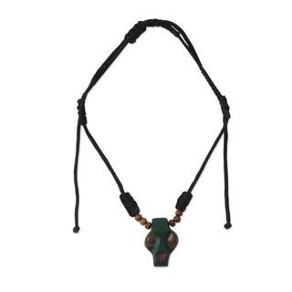 Handcrafted Ofram Wood Men's 'Papa Adam' Pendant Necklace (Ghana)