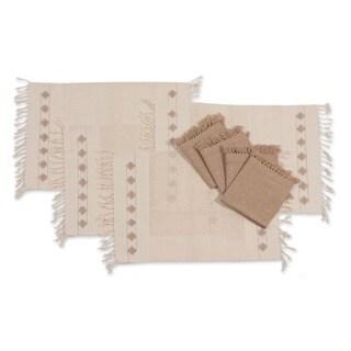 Set of 4 Cotton 'Ivory Mesh' Placemats and Napkins Set (Guatemala)