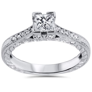 14k White Gold 1 1/10ct TDW Princess-cut Diamond Vintage Engagement Ring (I-J, I2-I3)