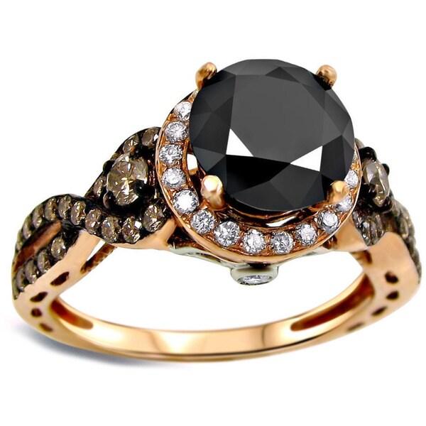 Noori 14k Rose Gold 2 2/5ct UGL-certified Round Black and Brown Diamond Engagement Ring