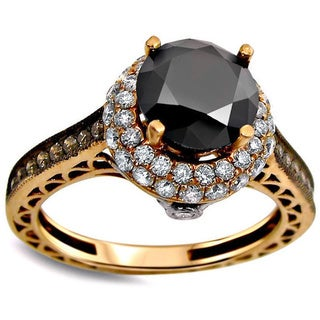14k Rose Gold 2 2/5ct Round Black and Brown Diamond Engagement Ring