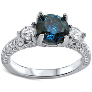 Noori 18k White Gold 2ct TDW Blue and White Diamond 3-stone Engagement Ring (F-G, SI1-SI2)