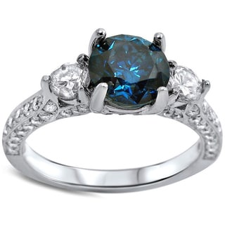 18k White Gold 2ct TDW Blue and White Diamond 3-stone Engagement Ring (F-G, SI1-SI2)