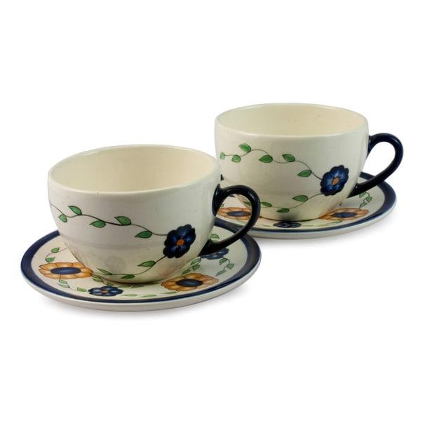 Handmade Set of 2 Ceramic 'Margarita' Cups and Saucers (Guatemala) 14406703