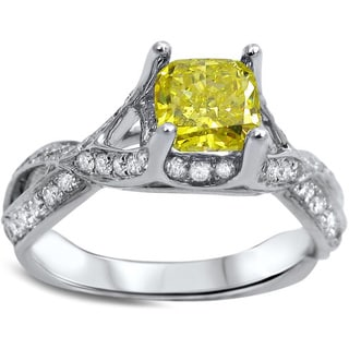 18k White Gold 1 1/4ct Canary Yellow Radiant-cut Diamond Engagement Ring (G-H, SI1-SI2)
