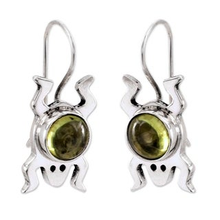 Sterling Silver 'Lucky Green Frog' Peridot Drop Earrings (Mexico)