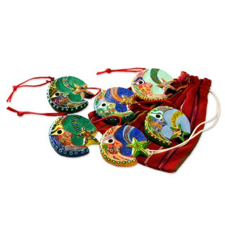Set of 6 Handcrafted Ceramic 'Festive Night' Ornaments (Guatemala)