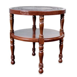 Mohena Wood and Leather 'Inca Ceremony' Accent Table (Peru)