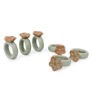 Set Of 6 Celadon Ceramic 'Vanda Orchid' Napkin Rings (Thailand)