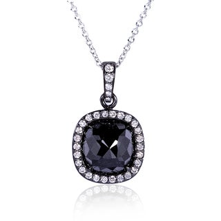 Annello 14k Gold 3 4/5ct TDW Cushion-cut Black Diamond Necklace with Black Rhodium Coating (G-H, I1-I2)